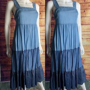 Kate Spade Broome Street Denim Tiered Midi Dress